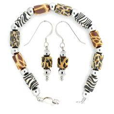 Sterling Silver and Synthetic Resin Animal Print Bracelet and Earrings Set