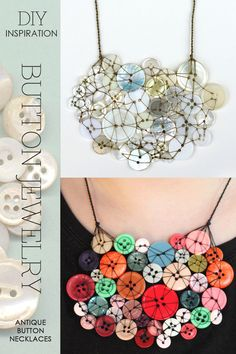 Button jewelry inspiration | tutorials for button necklaces and earrings