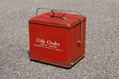 Red Cola Cooler, Mid Century Soda Cooler, 1950s Ice Chest Box, Coca Cola, Collectible Bottle Carrier, Rustic Storage Box, Industrial Poloron - SOLD! :)