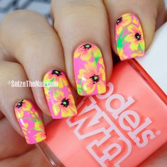 Tropical neon floral nails