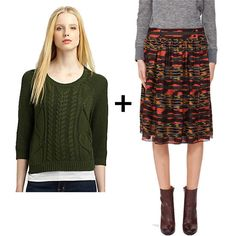 Cable-Knit Sweaters + Midi Skirts = A Combo For the 9 to 5 (and Beyond): We played off the colors in this printed skirt and matched it up with a coordinating green sweater for a winning combination. A pair of brown lace-up booties and a blazer would be the perfect finish.  Get the look: