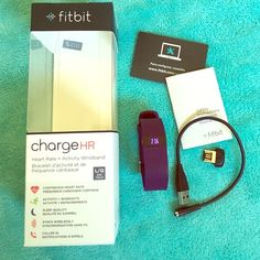 Fitbit Charge HR Large Plum Excellent working condition, comes with original box, wireless dongle, instructions and charger! Only selling because I purchased the pink one. Tracks heart rate, steps, sleep, exercise, and has caller ID. Fitbit Other
