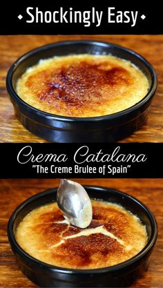 Homemade Spanish Crema Catalana Crema Catalana, Spain's version of creme brulee, is way easier to make at home that I ever thought! This shockingly easy dessert recipe is spiced with cinnamon and lemon peel. It's one of Spain's most traditional desserts! Desserts Espagnols, Cinnamon Desserts, Desserts From Spain, Recipes From Spain, Cuban Desserts, Italian Desserts, Homemade Desserts, Mexican Food Recipes, Sweet Recipes