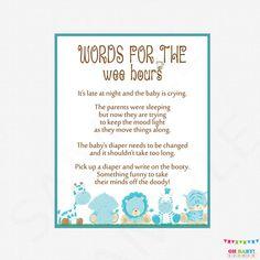 Late Night Diapers Boy Safari Baby Shower  Words by OhBabyShower
