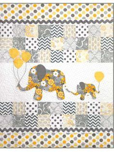 """A precious quilt mommy and baby will love. A baby elephant trailing its mother creates a charming scene in this baby quilt. The use of rickrack and simple prints makes the finished product an ideal baby gift. Add some dimension with the applique balloons in an assortment of fun colors. Finished quilt size is 40"""" x 52""""."""