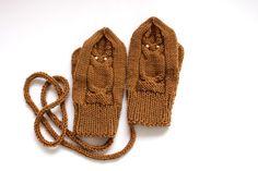 Merino Wool Owl Kids Mittens    Hand knitted Super Soft by Junikid