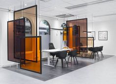 glass partitions orange glass partition in dining room                                                                                                                                                                                 More