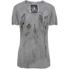 Dirty Splash Charcoal T-Shirt ($62) ❤ liked on Polyvore featuring tops, t-shirts, shirts, men, collared shirt, charcoal gray t shirt, scoopneck tee, asymmetrical shirt and scoop neck t shirt