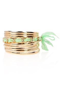 Deb Shops #gold bangles set with lace #mint ribbon