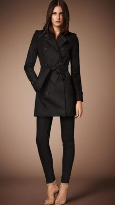 $1,795, Black Trenchcoat: Burberry The Kensington  Mid Length Heritage Trench Coat. Sold by Burberry. Click for more info: https://lookastic.com/women/shop_items/306993/redirect