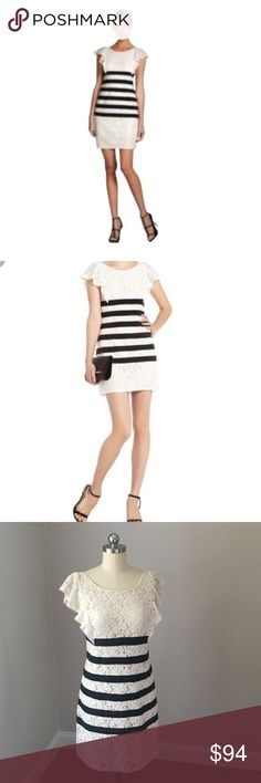 BCBG Max Azria Dress BCBGENERATION Max Azria Ivory and black Renata Dress. This dress has ivory lace, black ribbon stripes, and ruffle sleeves. The V back shows an exposed zipper. Size 4. This dress was only worn twice! BCBGMaxAzria Dresses Mini