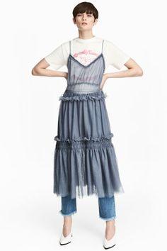 Платье из тюля - Сизо-голубой - Женщины   H&M RU