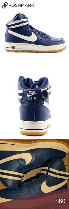Nike Air Force 1 High Top Sneakers New in box without lid  Blue and white 4.5 Youth or 6.5 Women's  Nike Air Force 1 Nike Shoes Sneakers