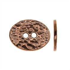 TIERRACAST PEWTER OVAL 2 HOLE BUTTON DISTRESSED 15X19MM 1 PC ANTIQUED COPPER from beadaholique.com