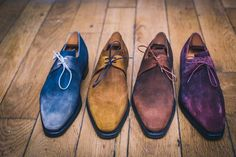 Maison Corthay extends its color-obsession to Suede ! Mens Fashion Shoes, Men S Shoes, Men's Fashion, Carlos Shoes, Men Dress, Dress Shoes, Socks And Sandals, Mode Style, Men's Style