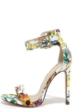 My Delicious Canter White Floral Print Ankle Strap Heels at Lulus.com!