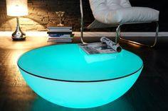 Extravaganter Couchtisch OZONE weiß Multi LED Beleuchtung mit Farbwechsel Outdoor geeignet