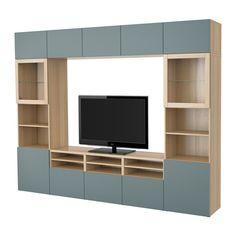 BESTÅ TV storage combination/glass doors - white stained oak effect/Valviken grey-turquoise clear glass, drawer runner, soft-closing  - IKEA