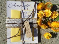Burlap & Lace Lily Wedding Invitation SAMPLE