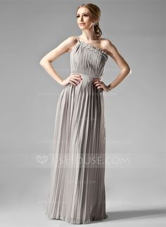 Empire One-Shoulder Floor-Length Chiffon Bridesmaid Dress With Beading Pleated (007000957) - JJsHouse