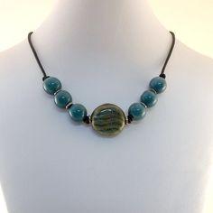 Summer Necklace Blue Black Porcelain Knotted by CinLynnBoutique, $24.00