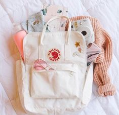 Only at UO: the white Kanken. Get it before it's gone! Mochila Kanken, Mochila Adidas, Aesthetic Backpack, Vsco Pictures, Cute School Supplies, Cute Backpacks, Girl Backpacks, School Backpacks, Summer Aesthetic