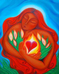 Mary Magdalene of the Burning Heart by Tanya Torres Marie Madeleine, Divine Mother, Mary Magdalene, Goddess Art, Sacred Feminine, Arte Floral, Visionary Art, Heart Art, Mother Earth