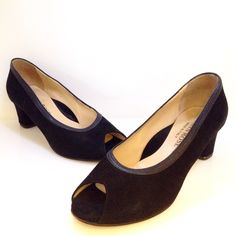 Cynthia Rose black suede peep toe heels. Size 7.5. Please call (949)715-0004 for inquiries.