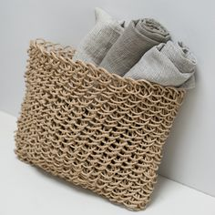 recycle paper basket and linen bath towels www.clothandgoods.com