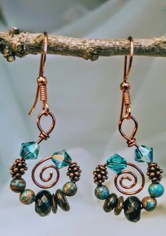 Handmade Copper Gemstone and Swarovski Crystal Earrings #jewelrymaking