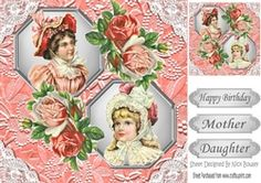 two lovely vintage ladies in peach bonnets frames with lace   flowers 8x8 on Craftsuprint - View Now!