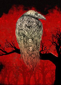 unexpected, haunting, demonic, daedric, dark , mysterious, hellish, tail feathers blend and fade into red