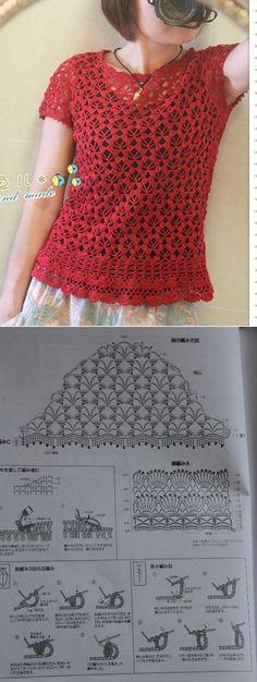 Летняя блуза крючком несложным узором