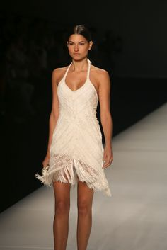 Hairpin Lace Crochet dress. Don't know who the designer is.