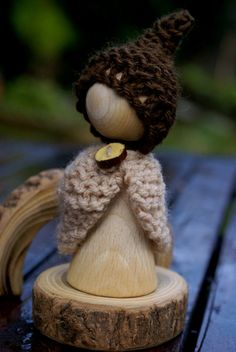 Waldorf Peg Doll -  Waldorf toy -  Waldorf gnome - Root Children - Autumn Nature Table - Gnome