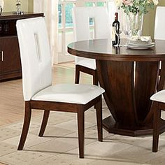 @Overstock   Update Your Dining Room With These White, Upholstered Dining  Chairs. The Brown, Cherry Finish Lends A Warm Look, While The White Bi Cast  Vinyl ...