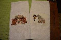 Cute Dog Embroidered Hand Towel Set/2 by ApronsGallery on Etsy