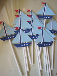 12 sailboat cupcake toppers. $7.50, via Etsy.