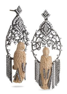 Mammoth birds are perched on ornate diamonds and fringe. #bochic #annakarenina