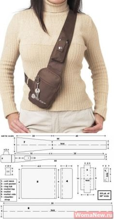 Bag pattern through a shoulder Leather Bags Handmade, Handmade Bags, Fanny Pack Pattern, Leather Bag Pattern, Hip Bag, Denim Bag, Leather Projects, Leather Working, Purses And Bags