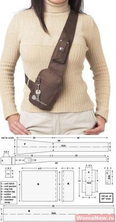 Bag pattern through a shoulder Leather Bags Handmade, Handmade Bags, Fanny Pack Pattern, Leather Bag Pattern, Hip Bag, Leather Projects, Leather Working, Bag Making, Diy Clothes