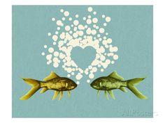 Two Fish and Bubble Heart Posters by Pop Ink - CSA Images at AllPosters.com