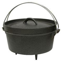 Stansport Cast Iron Dutch Oven with Legs - Black (4 Quart) : Target