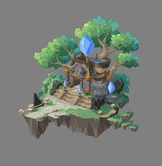 ArtStation - 小遗迹, Xun Tang 3d Fantasy, Fantasy Landscape, Isometric Art, Environment Concept Art, Environmental Art, Game Design, Unique Art, Game Art, Art Lessons