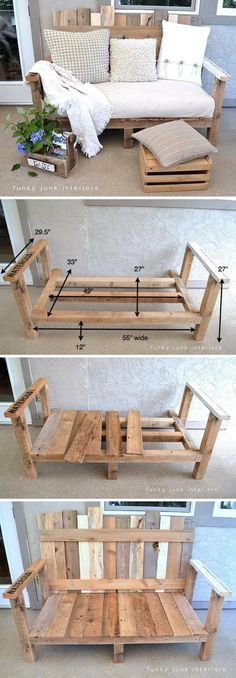 Cool DIY Yard Furniture Ideas 2017 You are in the right place about diy furniture projects Here Diy Yard Furniture, Wooden Pallet Furniture, Furniture Projects, Wood Pallets, Diy Pallet Sofa, Furniture Market, Furniture Movers, Diy Furniture From Pallets, Pallet Furniture For Outside