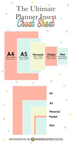 The Ultimate Planner Guide: Paper And Planner Sizes (Infographic + Chart) infographic-planner-insert-sizes-chart To Do Planner, Free Planner, Planner Pages, Printable Planner, Happy Planner, Planner Ideas, Planner Diy, Printables, 2015 Planner