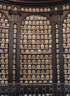 The Ossuary Chapel of San Martino Della Battaglia in Italy is the most ordered of all the bone houses on this list. Row upon row, column upon column of human remains rest in perfect order as if they were books in a macabre library. In all there are 2,619 deceased here with 1,274 skulls.