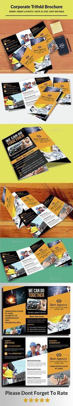 Corporate Tri-fold Brochure Template PSD. Download here: http://graphicriver.net/item/corporate-trifold-brochure-/15399748?ref=ksioks