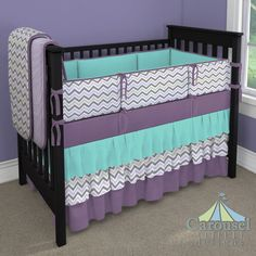 Crib bedding in Solid Teal, Lilac and Slate Gray Chevron, Solid Aubergine Purple, Solid Lilac Minky.