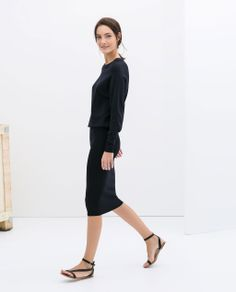 DRESS WITH PENCIL SKIRT from Zara | Black pencil skirt, black blouse | All black.